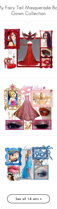 """""""My Fairy Tail Masquerade Ball Gown Collection"""" by bluerose423 ❤ liked on Polyvore featuring beauty, Pamela Love, 21dgrs, Qupid, anime, Masquerade, gown, FairyTail, erza and Nine West"""