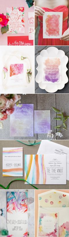 29 Watercolor Wedding Invitation Ideas You Will Love via Deer Pearl Flowers