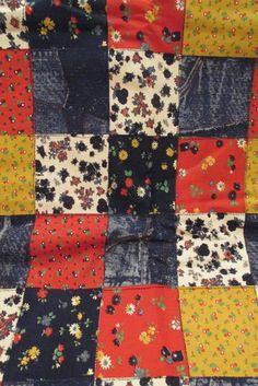 Vintage Fabric 1970s  1980s faux denim patchwork by rarefinds4u