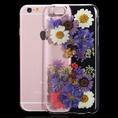 For iPhone 6 6S Plus Clear Hard Plastic Cases Real Fresh Flower Transparent Phone Capa For iPhone 6 6S Cover Bags Accessories