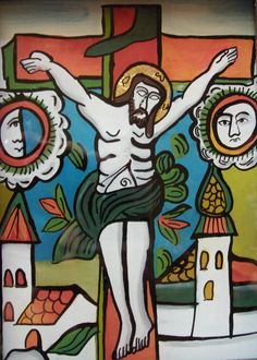 Ioana Corujan The Crucifixion I Reverse glass painting x 10 cm. Christian Paintings, Christian Art, Holy Quotes, Byzantine Icons, Last Supper, Orthodox Icons, Sacred Art, New Testament, Crucifix