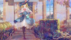 alice_margatroid blonde_hair dress flowers hat jq long_hair pantyhose petals ribbons touhou