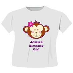 Personalised Monkey Girl T-Shirt  from Personalised Gifts Shop - ONLY £12.99