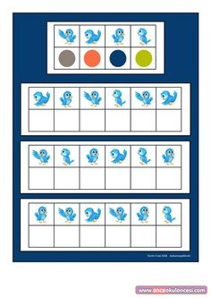 Board for the blue bird visual perception game. Find the belonging tiles on… Preschool Worksheets, Preschool Learning, In Kindergarten, Preschool Crafts, Cute Powerpoint Templates, Visual Perception Activities, Sensory Therapy, Math Patterns, Logic Puzzles