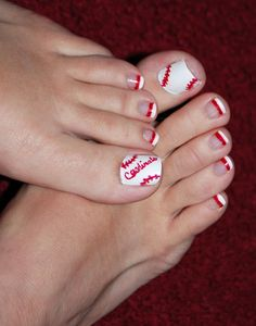 Baseball pedi - Saint Louis Cardinals shown here but can adapt this to other team names