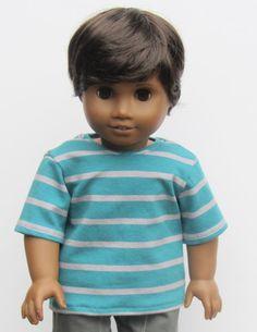 American Girl Boy Doll Clothes  Striped Tee by Minipparel on Etsy