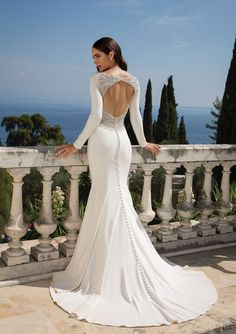 Justin Alexander Bridal 88076 Crepe Long Sleeve Fit and Flare Gown with Beaded Illusion Keyhole Back Wedding Dress Pictures, Sexy Wedding Dresses, Wedding Dress Shopping, Wedding Gowns, Wedding Photos, Fit And Flare, Keyhole Back Wedding Dress, Charlie Brear, Justin Alexander Bridal