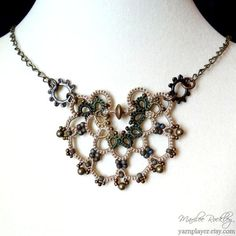 Lace necklace steampunk with gears brass beads and chain camouflage ecru hand dyed handmade tatting