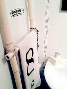DIY toallero vintage de bambú decoración de baños by Handmademaniadecor HMMD, bamboo towel rack, deco, bathroom, baño, original