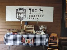 Camping Theme First Birthday - love this rustic, woodsy birthday party!