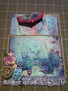 altered paper bag - Prima flowers Paper Bag Album, Pocket Envelopes, Pocket Cards, Snail Mail, Cool Tools, Paper Piecing, Gift Bags, Scrapbooks, Nifty