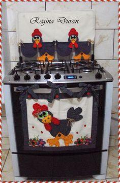 REGINA DURAN: Panô e capa de tampa de fogão da galinha.