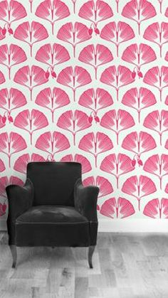 Ginkgo wallpaper in red and white