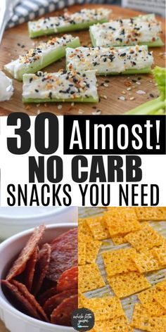 30 almost zero carb snacks to make and buy that are low carb and keto friendly. You'll love these easy keto snack recipes and meal ideas. No Carb Snacks, Healthy Snacks, Diabetic Snacks, Low Carb Food, Low Sodium Snacks, Diabetic Food List, Low Sugar Snacks, Good Keto Snacks, Low Carb Diets