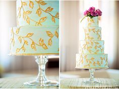 Stunning mint green and gold wedding cake by Honey Crumb Cake Studio / Seattle Wedding / Emerald and Lavender Wedding Details / Alante Photography / via StyleUnveiled.com
