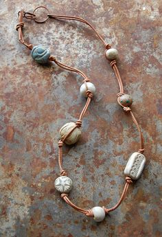 Moonbeams / Handmade Ceramic Bead and Leather Bead Necklace