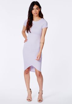 Missguided Lilac Curved Hem Ribbed Midi Dress on shopstyle.co.uk