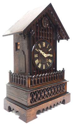 Rare Gallery Cuckoo Mantel Clock – German Black Forest Carved Bracket Clock   767624   Sellingantiques.co.uk Antique Mantle Clock, Wood Clocks, Antique Photos, Black Forest, German, Carving, Antiques, Gallery, Design
