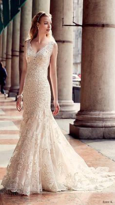eddy k milano bridal 2017 cap sleeves lace fit flare wedding dress (md205) mv train