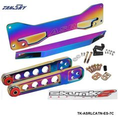 TANSKY -Neochrome Rear Subframe Brace+Lower Tie Bar+Lower Control Arm LCA For Honda Civic Acura RSX Si EP3 ES TK-ASRLCATN-ES-7C #Affiliate