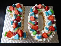 number cake with fruits and sweets for a child Number Cakes, Numbers, Sweets, Child, Fruit, Birthday, Desserts, Food, Design