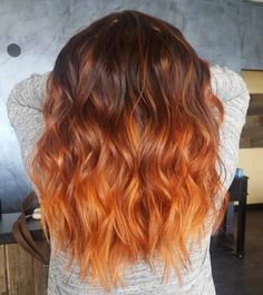 Trendy Hair Highlights Trends Curls Ideas Source by StatusSalonAgency Hair makeup natural Orange Hair Bright, Burnt Orange Hair, Orange Ombre Hair, Ombre Ginger Hair, Peach Orange, Orange Hair Colors, Light Orange, Brown Hair Orange Highlights, Copper Hair Highlights