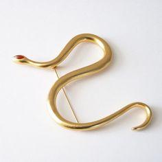 Amazing Kenneth Jay Lane Snake Pin KJL by Vintageby1980sExcess