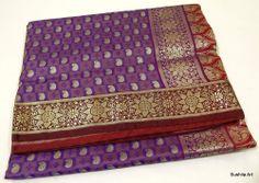 Woven Zari Brocade Art Silk Handloom Saree Fabric Purple Maroon  SARI EHS