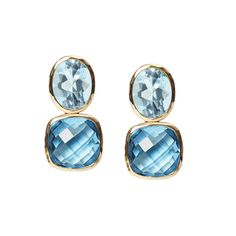 Blue topaz Drop earrings in yellow gold. Gee Woods. www.geewoods.com