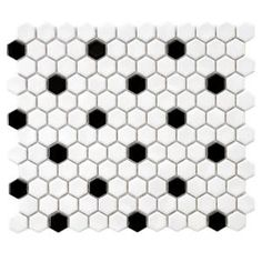 Merola Tile Metro Hex Glossy White with Black Dot 10-1/4 in. x 11-3/4 in. x 5 mm Porcelain Mosaic Tile (8.54 sq. ft. / case) FXLMHWBD at The Home Depot - Mobile