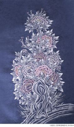 한상혜 – 익숙하면서도 새로운 | 월간민화 Korean Painting, Folk Art, Sketches, Embroidery, Abstract, Artwork, Flowers, Pattern, Drawings