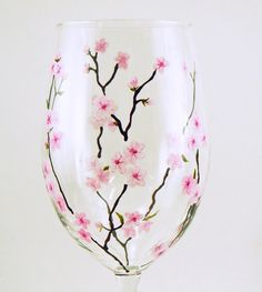 Painted stemware - Set of 2 white wine glasses  - Spring blossoms, light pink