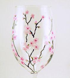Painted stemware - Set of 2 white wine glasses  - Spring blossoms, light pink