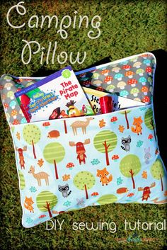 Camping Pillow Tutorial Flashlight or book light, book, notebook and pencil