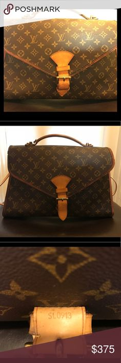 "GUC AUTHENTIC LOUIS VUITTON CANVAS MONO BRIEFCASE 💋Up for grabs is a BEAUTIFUL AUTHENTIC MONO BRIEFCASE💋 Date Code SLO913 L 14.5"" X H 11"" X W 3"" Leather trim/piping shows some visible cracks. Hardware shows tarnishing. Interior is in EXCELLENT condition.  No strap. Louis Vuitton Accessories Laptop Cases"