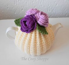 LILAC DELIGHT - Handmade Cream Tea Cosy/Cozy topped with 3 gorgeous Roses with pearl button centres and green leaves - Ready to Ship Cream Tea, Green Leaves, Cosy, Lilac, Ship, Pearls, Button, Trending Outfits, Unique Jewelry