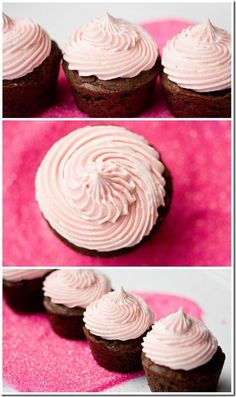 Mini Chip Brownie Bites with Pink Marshmallow Buttercream