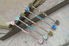 Industrial Earrings, Industrial Piercing Jewelry, Helix Jewelry, Industrial Barbell, Nose Jewelry, Industrial Bars, Industrial Piercing Barbells, Jewlery, Double Piercing