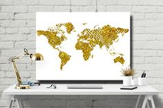 World Map Poster Gold Poster Gold Map Printable by ATArtDigital World Map Art, World Map Poster, Gold Office Decor, Gold Decorations, Gold Map, Printables, Art Prints, Unique Jewelry, Handmade Gifts