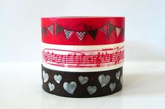 Garland,+Music+Notes,+Hearts+Japanese+Washi+Tape+-+RED+Brown+Set+of+3 $8.25