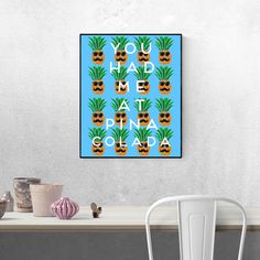 You had me at pina colada is a terrific Pineapple Print that has fantastic colour and tropical style. Cool poster gift idea for a cocktail lover. Poster Prints, Art Prints, Tropical Style, Pineapple Print, Pina Colada, Cool Posters, Cocktail, Colour, Cool Stuff