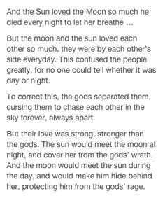 The love story of the Sun and the Moon.