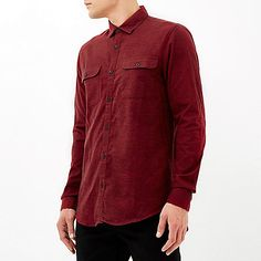 Red brushed flannel two pocket shirt - £28 #RImenswear