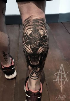 ▷ 1001 ultra cool tiger tattoo ideas for inspiration - Tattoos - Tattoo Calf Sleeve Tattoo, Calf Tattoo Men, Sleeve Tattoos, Calf Tattoos For Guys, Tattoo Drawings, Body Art Tattoos, Cool Tattoos, Tatoos, Inspiration Tattoos
