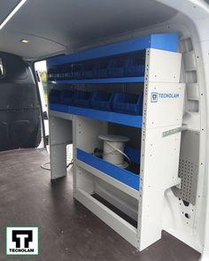 Mobilier auto cu rafturi deschise si cutii albastre cu gura larga pentru scule Volkswagen Transporter, Lockers, Locker Storage, Loft, Cabinet, Bed, Furniture, Home Decor, Pickup Trucks
