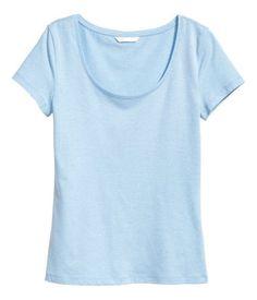 1fe9ed45020 Cotton light blue shirt t-shirt H M Workout Tops