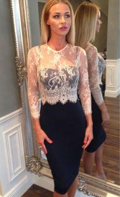 White Lace Spliced Navy Midi Dress $32.99