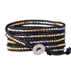 Kelitch Gold & Silver Bead on Black Leather 5 Wrap Bracelet Bangle Chain Jewelry #Kelitch #Banglecharmchain