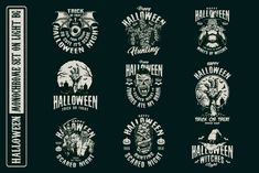 Monochrome Halloween vector designs with vampires, witches, zombies, pumpkins, etc for a dark background. High quality vector, easily scalable and resizable. Available to download for personal and commercial use on our website. #vector #vectorillustration #halloween #halloweendesign