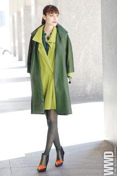 Josie Natori's leather coat, merino wool wrap and silk shirt. Bounkit necklace; Pierre Hardy boots.
